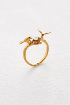 haco! てとひとて Alex Monroe Birds & Nest Ring <ゴールド>の商品写真1