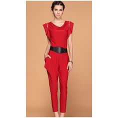 Red Ruffle Sleeve Draped Front Belt Jumpsuit ($54) via Polyvore