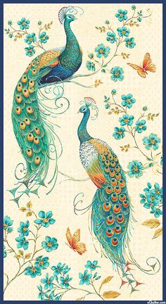 Peacock Pavilion - Kings of the Courtyard - 24 x 44 PANEL Quilt fabric online store Largest Selection, Fast Shipping, Best Images, Ship Worldwide Peacock Wall Art, Peacock Painting, Fabric Painting, Vintage Sweets, Textile Pattern Design, Art Village, Pressed Flower Art, Acrylic Painting Tutorials, Tribal Art