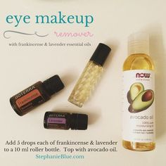 Just whipped up another bottle of my most awesome eye makeup remover. Great use for your essential oils!