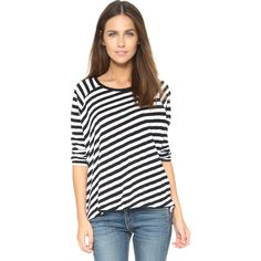 Rag & Bone/JEAN Camden Striped Tee ($125) ❤ liked on Polyvore featuring tops, t-shirts, black, long black tee, striped t shirt, long tee, black top and black tee