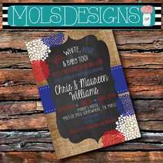 Couple BABY SHOWER BARBECUE Baby Q Red White Blue Bbq July 4th Fourth Bridal Star Baby Birthday Engagement Rehearsal Party Invitation