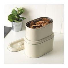 IKEA - BERÖMLIG, Storage tin with lid, set of 2, Suitable for cakes, biscuits and other dry foods.You can save space by stacking your tins when not in use.