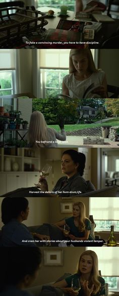 D: In the 2014 movie Gone Girl, character Amy Elliot Dunne can be described as a modern day Medea. They share many similarities. Neither are crazy, mentally ill or evil, rather, they are both driven by desperation and betrayal after being wronged by a man, both make the conscious decision to wrong in return. They are both arguably manipulative and passionate in carrying out their decisions. R: Below