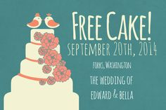 Free Cake Save the Date Funny Save the by DarlingSailorDesigns, $8.00