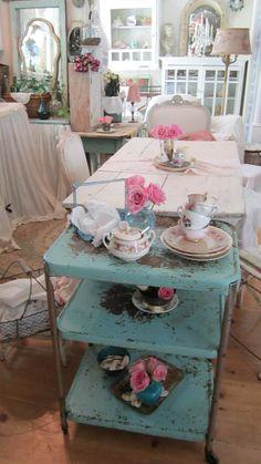 vintage Chippy painted rusty shabby chic aqau serving  cart castors