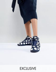 Browse online for the newest ASOS WHITE x Reebok Freestyle Hi Sneakers In Satin Spot styles. Shop easier with ASOS' multiple payments and return options (Ts&Cs apply). Silver Trainers, Blue Trainers, Reebok Freestyle, Asos, Clear Block Heels, Baskets, Womens Boots On Sale, Studded Flats, Pointed Heels