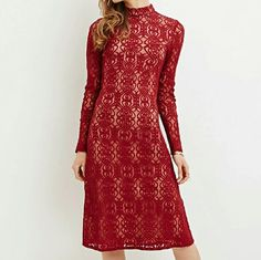 ISO! Forever 21 Wine Lace Mock Neck Midi Dress This dress was on here but the listing was deleted a just a day before I could buy it. :c Hoping that either somebody else has another one or knows somebody who has one they are wanting to get rid of! Forever 21 Dresses Midi