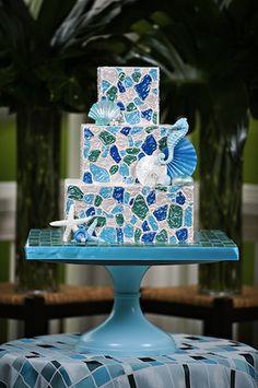 Sea glass wedding cake for a beach, seaside, or nautical wedding by @Ruth Srader