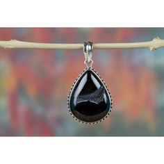 Charming Black Onyx Druzy Handmade Pure 925 Sterling Silver Pendant via Polyvore featuring jewelry, pendants, pendant charms, sterling silver jewelry, sterling silver charms pendants, sterling silver charms and charm jewelry