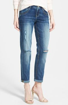 Wit & Wisdom Roll Cuff Destroyed Boyfriend Jeans (Mustard) (Nordstrom Exclusive) available at #Nordstrom