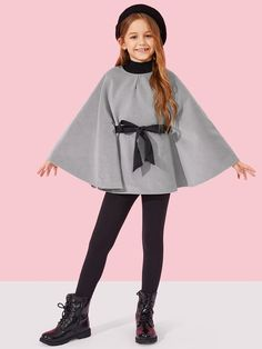 To find out about the Girls Knot Front Poncho Jacket at SHEIN, part of our latest Girls Jackets & Coats ready to shop online today! Teenage Girl Outfits, Girls Fashion Clothes, Dresses Kids Girl, Kids Outfits Girls, Cute Girl Outfits, Tween Fashion, Teen Fashion Outfits, Cute Casual Outfits, Cute Dresses