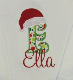 Girl or Boy, Christmas, Appliqued Initial with Santa Hat, Shirt or Bodysuit, Holiday on Etsy, $22.00