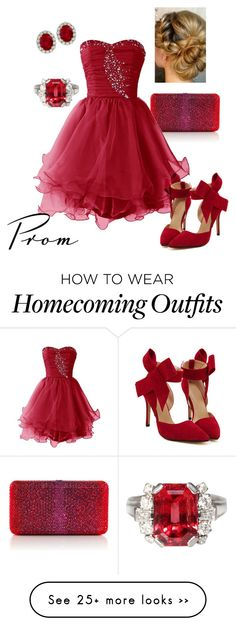 """Red Prom"" by briony-jae on Polyvore featuring Judith Leiber"