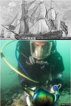 """The HMS Invincible shipwreck is the """"best preserved of a warship from the Century"""". Marine Archaeology, Yesterday And Today, Shipwreck, Nautilus, Royal Navy, Portsmouth, Antiquities, Whales, Black Glass"""