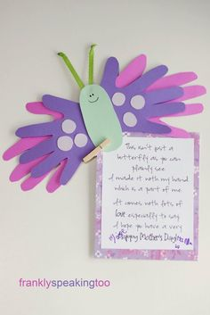 Mother Day Handprint Poem Butterfly - Handprint And Footprint Art Handprint Crafts For Mothers Day - Best Mother's Day Crafts and Arts Kids Crafts, Mothers Day Crafts For Kids, Daycare Crafts, Classroom Crafts, Fathers Day Crafts, Mothers Day Cards, Toddler Crafts, Preschool Crafts, Arts And Crafts