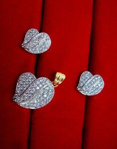 Daphne Ethnic Wear Designer Shape Zircon Pendant and Earrings for Women