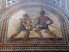 Detail of the Gladiator mosaic floor, a Hoplomachus fighting a Thraex, Römerhalle, Bad Kreuznach, Germany Ancient Egyptian Art, Ancient Aliens, Ancient Rome, Ancient Greece, Roman History, European History, American History, Chariot Racing, Roman Gladiators