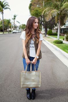 ILY couture necklace, graphic t-shirt and cargo vest via StyleList | http://aol.it/X3ZFPR