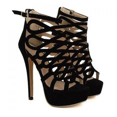 Fashionable Black and Openwork Design Women's Sandals ($23) ❤ liked on Polyvore featuring shoes, sandals, heels, nastydress, sandale, black heeled shoes, kohl shoes, heeled sandals, black shoes and black sandals