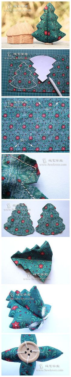 How to sew cute fabric Christmas trees step by step DIY tutorial instructions