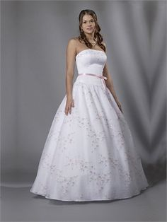 Strapless Ball Gown Open Back White With Belt Embroidery Prom Dress PD0337