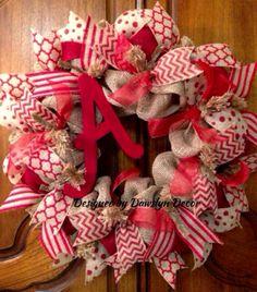 Red Burlap Initial Wreath by Dawslyn Decor on Etsy & Facebook.