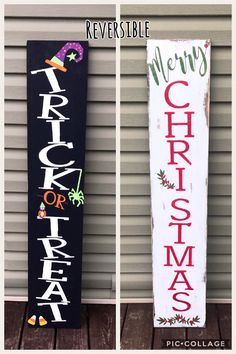 Pin for Later: halloween signs. Reversible porch sign, harvest porch sign, merry Christmas porch sign, porch signs by MagnoliaLaneSignCo. Halloween Crafts, Holiday Crafts, Christmas Crafts, Wooden Halloween Signs, Xmas, Christmas Christmas, Christmas Wooden Signs, Christmas Porch Ideas, Merry Christmas Outdoor Sign
