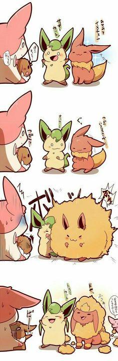 Sylveon, Eevee, Leafeon, Flareon, Espeon, funny, cute, comic, text; Pokémon