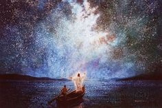 Calm and Stars is a painting that depicts Jesus Christ calming the seas in a boat with one of his disciples - Yongsung Kim Images Du Christ, Pictures Of Jesus Christ, Christian Paintings, Christian Artwork, Paintings Of Christ, Religious Paintings, Art Prophétique, Arte Lds, Image Jesus