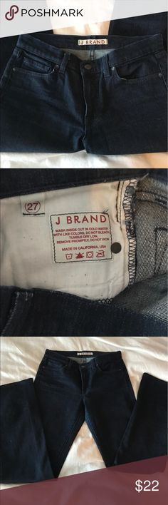 J Band Dark Denim Skinny Jeans SZ 27 J Brand Dark Denim Skinny Jeans SZ 27. These are deep indigo just like when they were bought. Wash in cold separate or you'll end up with entirely new blue wardrobe😉 J Brand Jeans Skinny