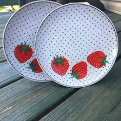 "Set of 2 Vintage Takahashi Strawberry San Francisco 7.5"" Ceramic Plates / Polka Dots / Kitchenware / Made in Japan"
