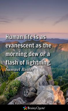 Human life is as evanescent as the morning dew or a flash of lightning. - Samuel Butler