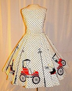 Vintage-50s-NOVELTY-Print-Polka-Dot-Antique-Car-Dress-RARE-Cars-Streetlamps