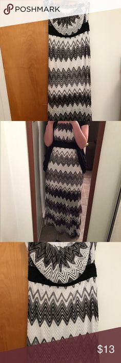Vanity Black and White Chevron Dress Size Large 🖤 Gorgeous black and white chevron dress by Vanity! Store may be closed but you can still have a Like new item! Absolutely beautiful dress! 🖤🖤🖤 Size Large with very flattering fit! Vanity Dresses Maxi