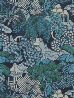 Beacon Hill Hidden Temple - Indigo Fabric, Midnight Garden Collection, $89.99 per yard