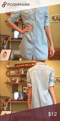 Jeans dress Super cute! The sleeves can have a cuff or you can wear it straight? Dresses
