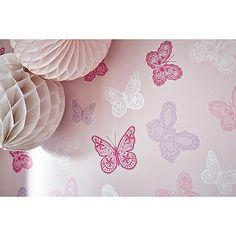 Graham & Brown Kids Girls Kids Bedroom Nursery Pink & Purple Butterfly Print Wallpaper- | Debenhams