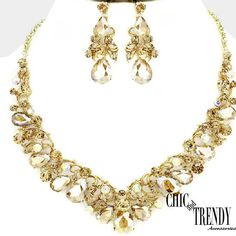 HIGH QUALITY GOLD CRYSTAL WEDDING FORMAL CHUNKY NECKLACE JEWELRY SET TRENDY #Unbranded