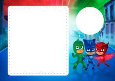 Hermosas imágenes y marcos infantiles de Pj Masks para descargar y aplicar como desees: tarjetas, invitaciones de cumpleaños, fondos, stickers para candy bar con la figura de Owlette, Catboy y Gekk…