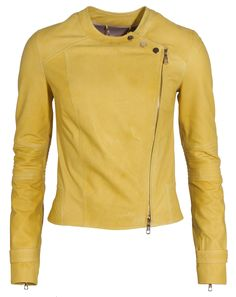 Pastel-colored leather jackets: Coole Lederjacke in Gelb von Sly 010.