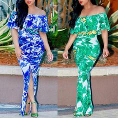 Floral Ruffled Off Shoulder Split Slinky Maxi Dress