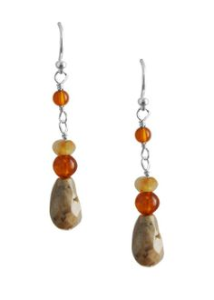 Amber and honey jade Sundrop Earring, Sterling Silver