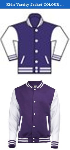 "Kid's Varsity Jacket COLOUR Purple/White SIZE 12 TO 13. 80% cotton/ 20% polyester. Press-stud closure with contrast studs. Knitted collar, cuffs and waistban with stripe detail. Contrast long sleeve. Taped back neck. Hanging loop at back of neck. Two welt pockets. Small opening in pocket for ear cord feed. Hidden ear phone loops. WRAP Certified Production. Weight: 330 gsm. Size Specifications 3-4 5-6 7-8 9-11 12-13 To Fit Chest (Inches) 26"" 28"" 30"" 32"" 34""."