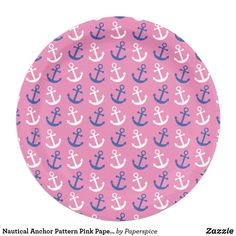 Shop Nautical Anchor Pattern Pink Paper Plate created by Paperspice. Nautical Party, Nautical Anchor, Nautical Wedding, Wedding Dinner Plates, Anchor Paper, Party Plates, Pink Paper, Pattern Paper, Party Themes