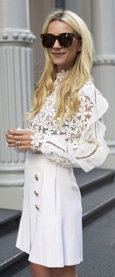 #summer #style #outfitideas |  White Lace Top + White Military Skirt