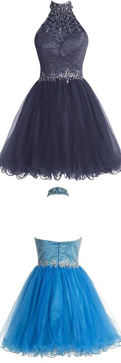 Backless Homecoming Dresses, Beading Homecoming Dress, Cute Short Homecoming Dresses, Halter Prom Gowns, Sexy Cocktail Dress