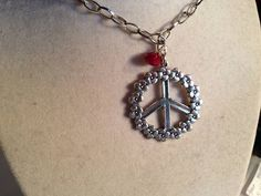 Peace Sign Necklace Red Jewelry Crystal Jewellery Floral by cdjali, $18.00
