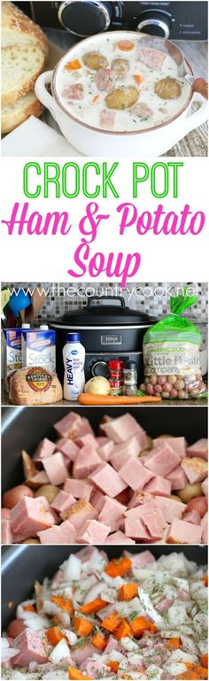 Crock Pot Potato & Ham Soup recipe from The Country Cook. This has got to be the best soup I have ever made! Seriously, so good. It's like a creamy potato soup with chunks of ham - amazing! Perfect wi (Best Ever Ham) Crockpot Dishes, Crock Pot Slow Cooker, Crock Pot Cooking, Slow Cooker Recipes, Crockpot Recipes, Soup Recipes, Cooking Recipes, Easy Recipes, Recipies