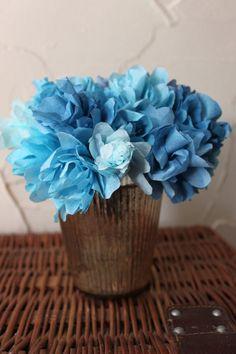 blue shape, paper flowers, coffee filter flowers, barns, blue coffe, filter hydrangea, pottery barn, coffee filters, coffe filter